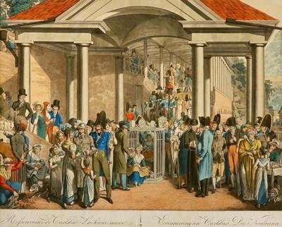 Georg Opitz - Lázeňská společnost u Nového pramene, kolorovaná mědirytina, kolem 1814