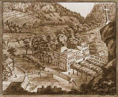 Goethova kresba Českého sálu v Karlových Varech 1806
