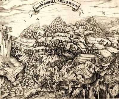 Nejstarší veduta Karlových Varů z roku 1625