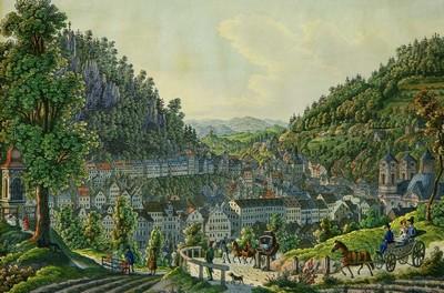 Vincenz Morstadt, Karlovy Vary , kolorovaná mědirytina, kolem 1840