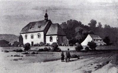 Kostel na rytině karla liebschera z 2 poloviny 19 století
