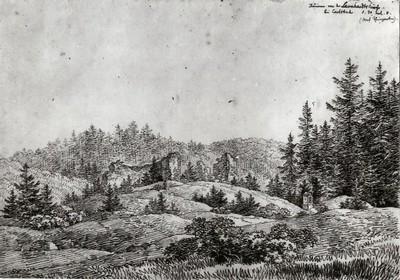 zříceniny kostela sv. Linharta na rytině z roku 1808