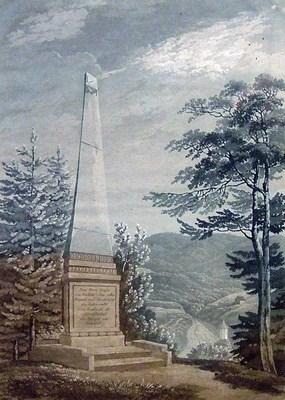 Findlaterův obelisk na kolorované akvatintě C. Rordorfa z první poloviny 19. století