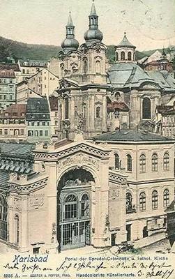 kostel sv. Máří Magdalény na pohlednici z počátku 20. století