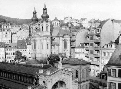 kostel sv. Máří Magdalény na fotografii z roku 1936