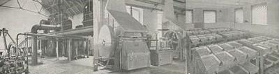 Odpařovací stanice, rotační buben na výrobu soli a čistá krystalizace soli v roce 1949