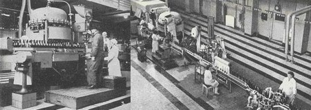 Plnění a zátkování Mlýnského pramene v automatické lince roku 1964