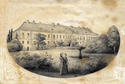 zámecká budova na historické kresbě z poloviny 19. století