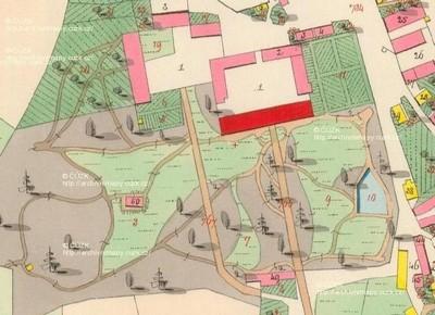 zámecký areál s přilehlým parkem na císařském otisku stabilního katastru vsi Štědrá z roku 1841