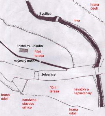 Obr. 7) Terasový systém Bystřice kolem sv. Jakuba