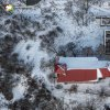 Svatobor - fara   bývalý farní areál pod kostelem Nanebevzetí Panny Marie ve Svatoboru na leteckém snímku - únor 2015