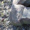 Dlouhá - kamenný kříž | torzo žulového podstavce kamenného kříže s profilovanou patkou - březen 2017