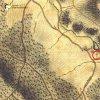 Bochov - železný kříž | železný kříž u Bártova mlýna u Bochova na výřezu mapy 1. vojenského josefského mapování z let 1764-1768