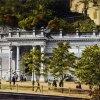 Karlovy Vary - Mlýnská kolonáda | pavilon Skalního pramene na pohlednici kolem roku 1904