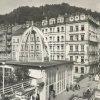 Karlovy Vary - Vřídelní kolonáda | dřevěný pavilon s vývěrem Vřídla po přestavbě v roce 1946