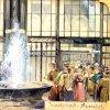 Karlovy Vary - litinová Vřídelní kolonáda | Vřídlo na kolorované pohlednici z doby kolem roku 1900
