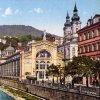 Karlovy Vary - litinová Vřídelní kolonáda | Vřídelní kolonáda na kolorované pohlednici z roku 1928