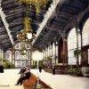 Karlovy Vary - litinová Vřídelní kolonáda | promenádní hala na kolorované pohlednici před rokem 1939