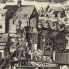 Karlovy Vary - Vřídlo | ssituace u vývěru Vřídla v roce 1652 na historické rytině Georga Haupschmana podle kresby Johana Schindlera