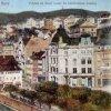 Karlovy Vary - městská spořitelna   spořitelna na kolorované pohlednici z doby před rokem 1920