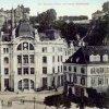 Karlovy Vary - městská spořitelna   spořitelna na kolorované pohlednici z počátku 20. století
