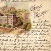 Karlovy Vary - Lázeňský dům (Lázně III) | Lázeňský dům (Kurhaus) na kolorované pohlednici z roku 1900