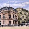 Karlovy Vary - Městské divadlo | Městské divadlo na kolorované pohlednici z roku 1945