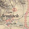 Semtěš - socha Panny Marie   socha Panny Marie u Semtěše na mapě 3 vojenského františko-josefského mapování z let 1876-1878