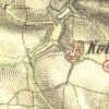 Kobylé - Samsonův kříž | Samsonův kříž na bývalém rozcestí v polích u Kolešova na mapě 2. vojenského františkovo mapování z roku 1846