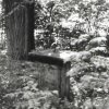 Březová - socha sv. Jana Nepomuckého | sokl sochy sv. Jana Nepomuckého - září 1990