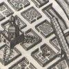 Ostrov - letohrádek | původní objekt dřevěného letohrádku na výřezu z veduty města Ostrov v Topografii Matthause Meriana z roku 1650