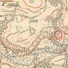 Skoky - Žlutý kříž   Žlutý kříž při silnici ze Skoků do Žlutic v udolí říčky Střely na mapě III. vojenského mapování z počátku 20. století