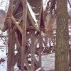 Šemnice - socha sv. Jana Nepomuckého   zchátralý přístřešek u mostu přes Ohři na počátku roku 2007
