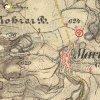 Skoky - železný kříž | železný kříž na rozcestí nad vsí Skoky na mapě III. vojenského (Františko-josefského) mapování z let 1877-1880