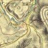 Záhořice - Strabovský mlýn   Strabovský mlýn v údolí říčky Střely u Záhořic na mapě 1. vojenského josefského mapování z let 1764-1768
