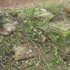 Novosedly - socha sv. Jana Nepomuckého | vyřezané části rozvaleného podstavce sochy sv. Jana Nepomuckého u Novosedel - říjen 2016