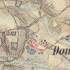 Domašín - Rohmův kříž | Rohmův kříž u Domašína na mapě 3. vojenského františko-josefského mapování z let 1876-1878