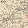 Dlouhá - železný kříž | železný kříž při cestě k farnímu kostelu sv. Bartoloměje na Kostelní Horce na mapě topografické sekce 3. vojenského mapování ze 30. let 20. století