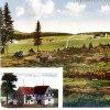 Rozhraní (Halbmeil) | kolorovaná pohlednice osady Rozhraní (Halbmeil) s hostincem Antona Günthera a hájovnou z počátku 20. století
