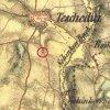 Těšetice - železný kříž   kříž při cestě k Šinkově mlýnu u Těšetic na výřezu mapy 1. vojenského františkovo mapování z roku 1846