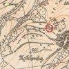Ostré - železný kříž | železný kříž nad vsí Ostré na výřezu mapy topografické sekce 3. vojenského mapování z 20. let 20. století