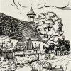 Tocov - kostel Navštívení Panny Marie | farní kostel v Tocově na historické kresbě