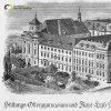 Doupov - kostel sv. Alžběty | klášterní areál s kostelem sv. Alžběty, gymnáziem a studentskou kolejí na kresbě z roku 1905