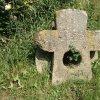 Protivec - smírčí kříž | přední strana kamenného smírčího kříže v Protivci - červenec 2015