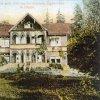 Zakšov (Hradiště) - lovecký zámek Dunkelsberg   lovecký zámek na kolorované pohlednici z doby po roce 1900