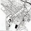 Doupov (Duppau), katastrální mapa 1842 | Výřez z katastrální mapy města z roku 1842 - náměstí, probíhající ve směru severovýchod-jihozápad, je na jihozápadě ukončeno kostem Nanebevzetí Panny Marie, za nímž se rozkládají budovy dvora a zámek, dosud částečně obklopený vodním příkopem, při jihovýchodním okraji zástavby je umístěn další kostel s klášterem