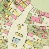 Mirotice - mladší tvrz   bývalý poplužní dvůr s budovou tvrze (č. 15) a přilehlou hospodářskou budovou s průjezdem (č. 14) na mapě stabilního katastru vsi z roku 1841