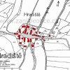 Hradiště (Hofen)   katastrální mapa vsi Hradiště (Hofen) z roku 1945