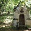Korunní Kyselka - pohřební kaple Carla Gölsdorfa | vstupní jihozápadní průčelí zdevastované pohřební kaple Carla Gölsdorfa u bývallých lázní v Korunní Kyselce - říjen 2013