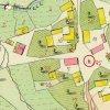 Mlyňany - kaple sv. Basilida | obecní kaple sv. Basilida na návsi na císařském otisku mapy stabilního katastru vsi Mlyňany (Lindles) z roku 1841